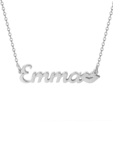 18K White Gold Plated Personalized Kiss Name Necklace Silver