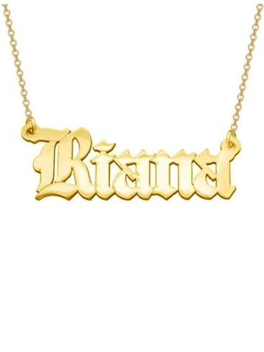18K Gold Plated Personalized Old English Font Name Necklace