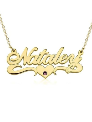 18K Gold Plated Personalized Birthstone Name Necklace With Underline Hearts
