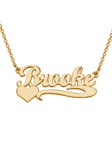 18K Gold Plated Personalized  Heart Name Necklace silver