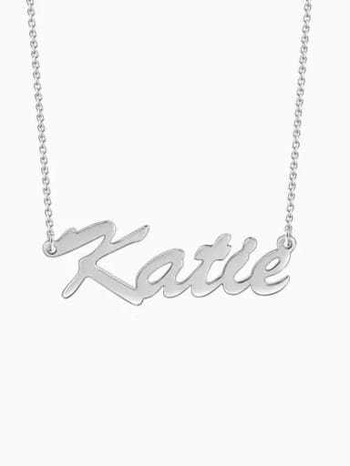 "18K White Gold Plated Customize Classic Personalized ""Katie"" Name Necklace sterling siver"