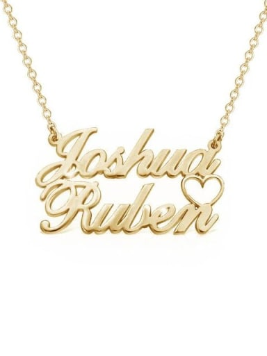 18K Gold Plated Personalized Double Names Necklace with a Cut Out Heart
