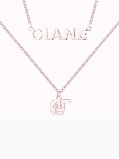 18K Rose Gold Plated Name Necklace with Layered Gesture silver