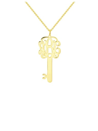 18K Gold Plated Customize Key Monogram Necklace Silver