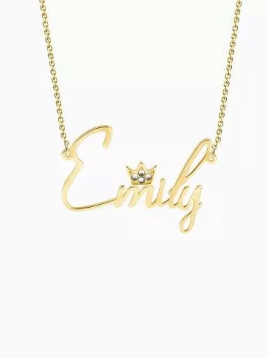 18K Gold Plated Personalized Crystal Name Necklace With Crow Silver