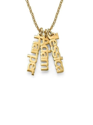 18K Gold Plated Personalized Vertical 3 Names Necklace