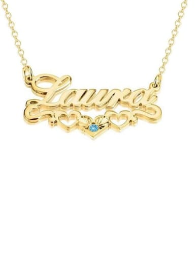 18K Gold Pated Custom birthstone Name Necklace with Underline Hearts Silver