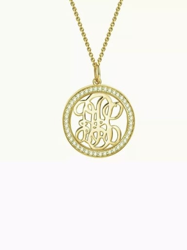Customize Pave CZ Monogram Necklace Sterling Silver