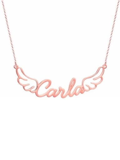 18K Rose Gold Plated personalized Angel Wings Name Necklace
