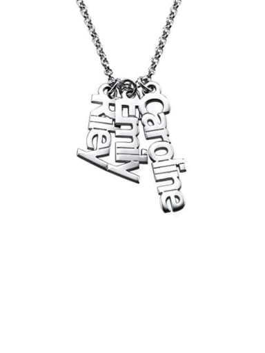 18K White Gold Plated Personalized Vertical 3 Names Necklace