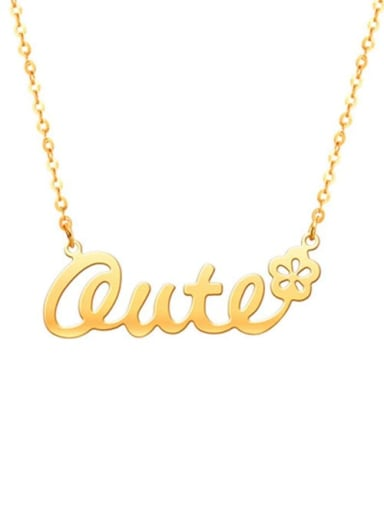 18K Gold Plated Personalized Classic Name Necklace with Flower