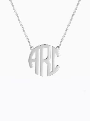 Personalized Block Monogram Necklace Silver