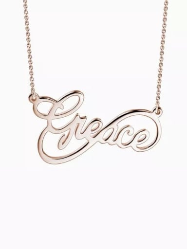18K Rose Gold Plated Customized Infinity Style Name Necklace
