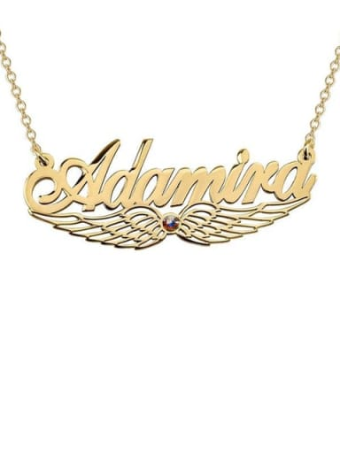 18K Gold Plated Custom Angel Wing Name Necklace with birthstone