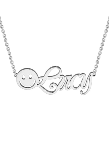 18K White Gold Plated BBF silver personalized  Smiley Name Necklace