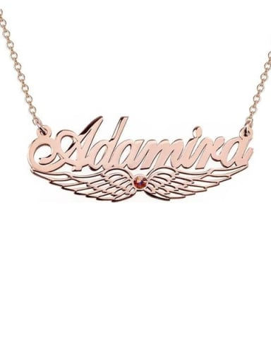 18K Rose Gold Plated Custom Angel Wing Name Necklace with birthstone
