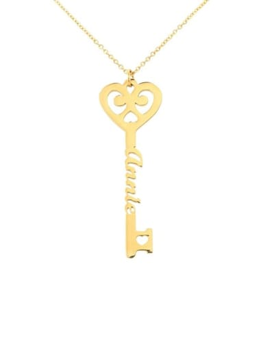 18K Gold Plated Personalized  Key Style Name Necklace silver