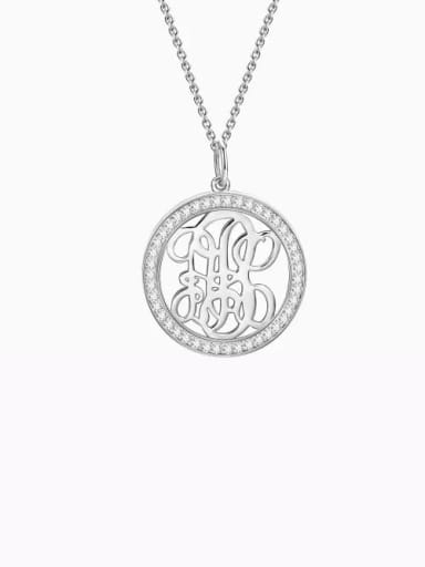 18K White Gold Plated Customize Pave CZ Monogram Necklace Sterling Silver