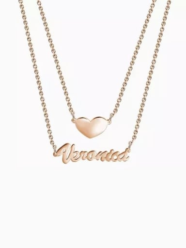 18K Rose Gold Plated Customized Two Layers Personalized Heart Name Necklace