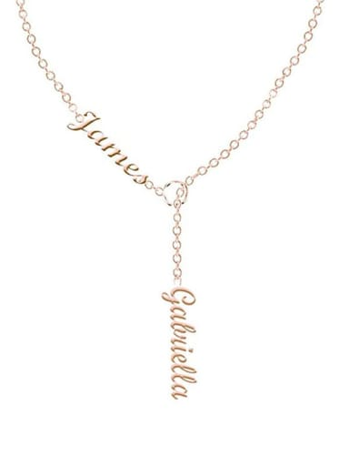 18K Rose Gold Plated Customize Lariat Name Necklace For Couples