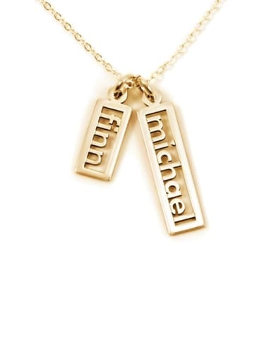 18K Gold Plated Personalized Open Double Rectangle Name Necklace