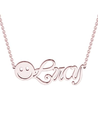 18K Rose Gold Plated BBF silver personalized  Smiley Name Necklace