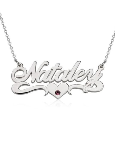 18K White Gold Plated Personalized Birthstone Name Necklace With Underline Hearts