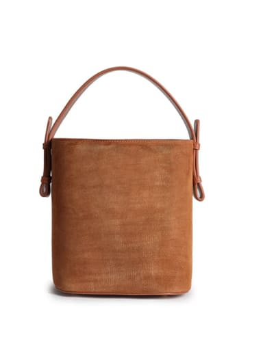 Matte/leather A/B face bucket bag