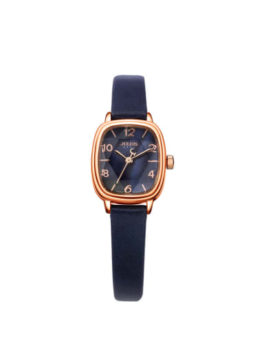 Model No A000483W-006 Fashion Blue Alloy Japanese Quartz Square Genuine Leather Women's Watch 24-27.5mm