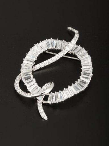 A Platinum Plated Stylish Zircon Lapel Pins & Brooche Of