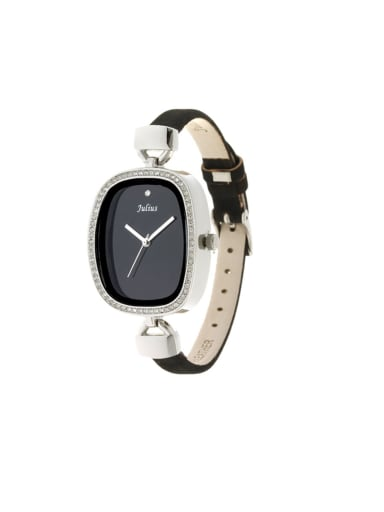 Model No 1000003257 Fashion Black Alloy Japanese Quartz Square Genuine Leather Women's Watch 24-27.5mm