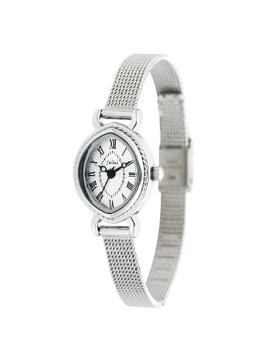 Fashion White Alloy Japanese Quartz Oval Alloy Women's Watch 24-27.5mm