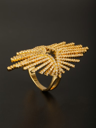 Model No AG044089R White Ring with Gold Plated Copper Zircon