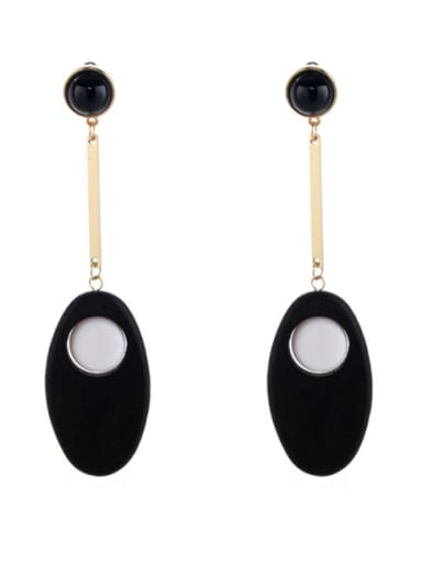 New design Gold Plated Zinc Alloy  Drop drop Earring in Black color