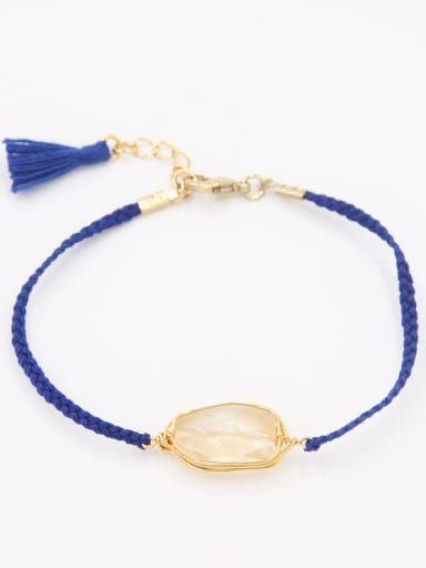 The new  Gold Plated Stone Charm Bracelet with White