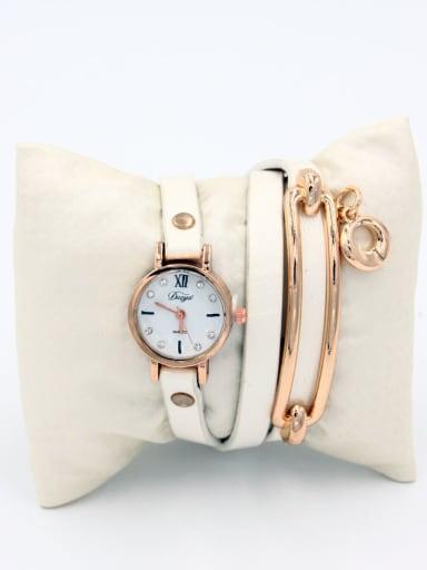Fashion White Alloy Quartz Round Faux Leather Women's Watch 24-27.5mm