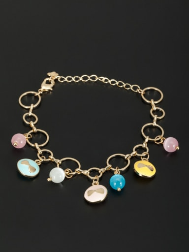 Custom Multi-Color Round Bracelet with Gold Plated