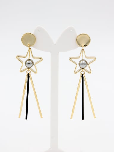 New design Gold Plated Pearl Hoop drop Earring in Grey color