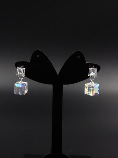 Blacksmith Made Platinum Plated Zircon Square Drop drop Earring
