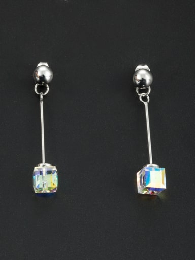 Model No NY41734B Personalized Platinum Plated Silver Square Swarovski Crystals Drop drop Earring