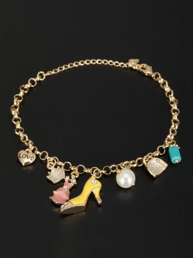 White color Gold Plated Heart Pearl Bracelet
