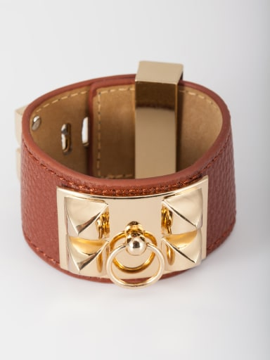 Model No A000313H-001 New design Gold Plated PU Square Bangle in Brown color
