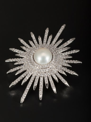 Platinum Plated Round Pearl White Lapel Pins & Brooche