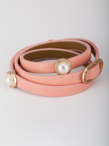 Pink color Gold Plated PU Round Pearl Bangle
