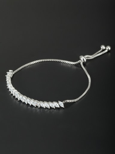 Custom White Charm Bracelet with Platinum Plated
