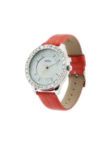 Fashion Red Alloy Japanese Quartz Round Genuine Leather Women's Watch 40-43.5mm