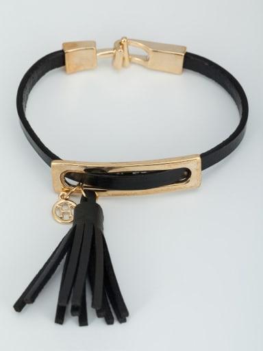 Blacksmith Made Gold Plated  Bracelet  Black Leather tassels