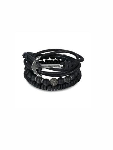 Personalized Black Charm Beads Bracelet