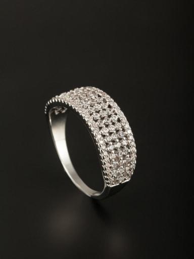 Model No SJ045973R-001 New design Platinum Plated Copper Zircon Ring in White color
