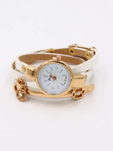 Fashion White Alloy Quartz Round Faux Leather Women's Watch 23-25mm